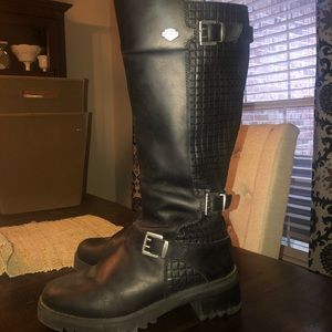 Harley Davidson Black Leather Boots